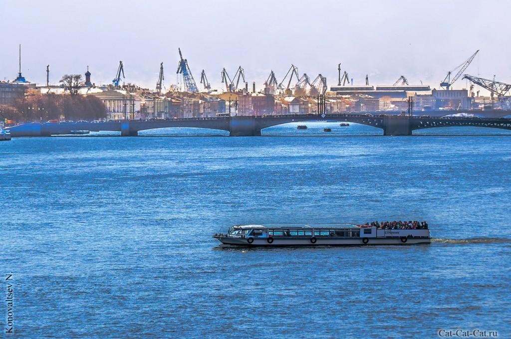 Биржевой мост через Неву в Санкт-Петербуре
