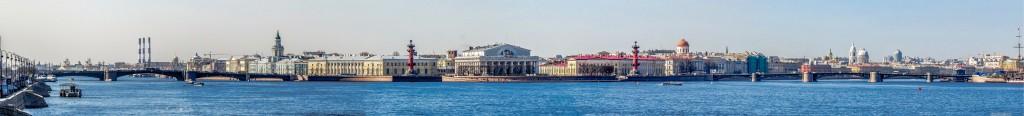 Стрелка Васильевского острова, Дворцовый и Биржевой мосты. Панорама Санкт-Петербурга.