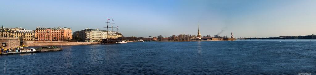 Нева и Петропавловская крепость, панорама
