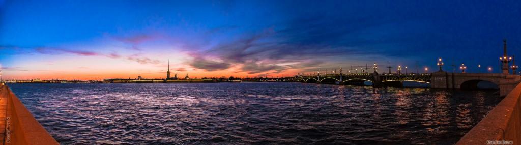 Петропавловская крепость и Троицкий мост, панорама ночного Санкт-Петербурга