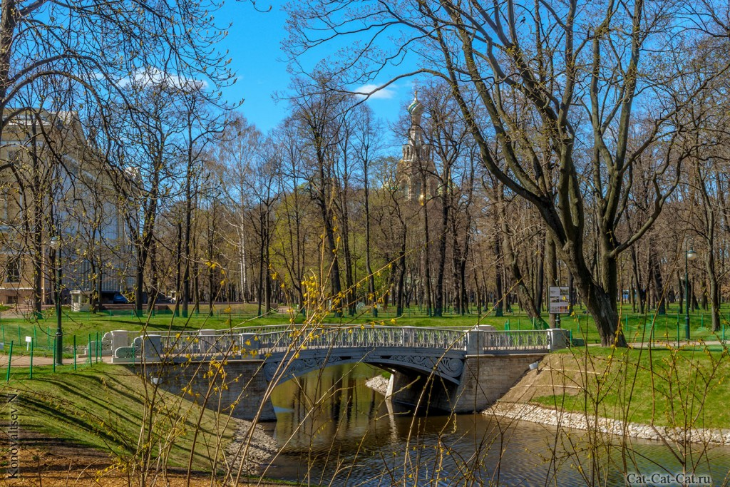 Михайловский сад, чугунный мостик Росси