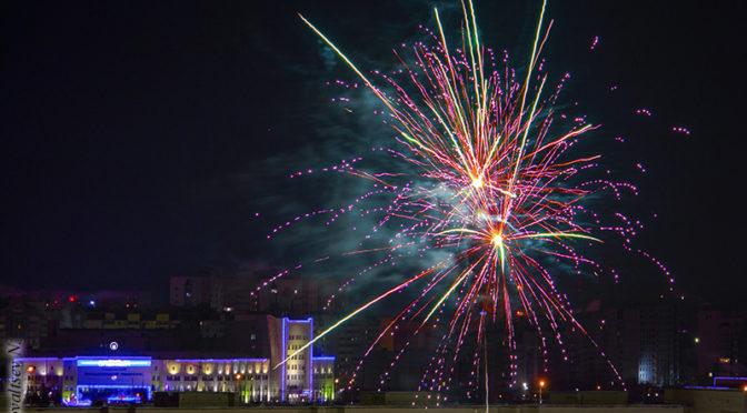 Ночной Ульяновск с высоты и новогодний фейерверк